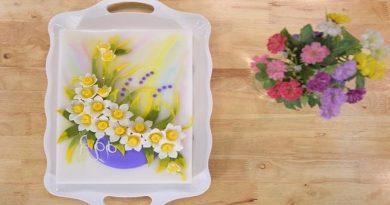 Rau câu hoa nổi nghệ thuật: Mẫu bánh hoa thủy tiên