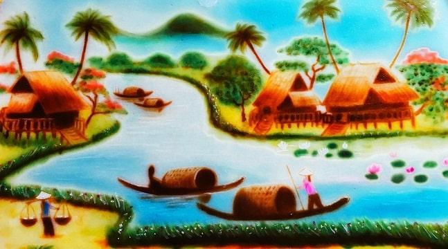 Rau câu vẽ tranh phong cảnh – Sơn thủy hữu tình trên mặt bánh rau câu