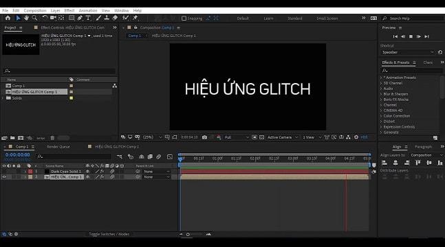 Học After Efect với hiệu ứng Glitch Animation